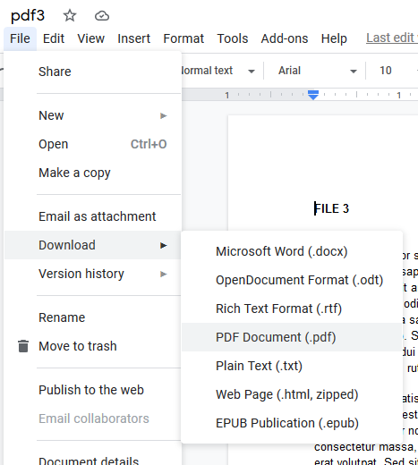 Google Drive download as PDF